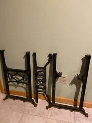 Antique Industrial Cast Iron Table Legs Uprights And Cross Bar. H Frame