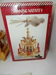 Vintage Wood Spinning Nativity New Old Stock 16 Inches Tall Christmas