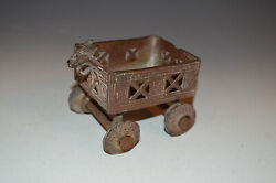 Antique Solid Brass Toy Cart Hand Crafted Indian Rams Head