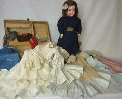 Antique C M Bergmann Germany Bisque Doll With Original Trunk And Wardrobe