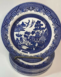 Johnson Brothers Blue Willow 10andrdquo Dinner Plates Churchill Lot 8 Made In England