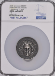 Beethoven Diamond Insert 2020 Cameroon 3oz Silver Coin Ngc Ms 70 First Release