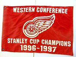 Rare 1996-1997 Stanley Cup Champions Detroit Red Wings Pennant Flag