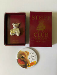 Steiff Club 1993 Sterling Silver Bear Pin In Box And Button Free Shipping