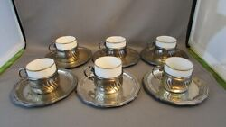 Rare 1800and039s Julius Herz Silver Demitasse Holders And Liners 800 Silver Porcelain