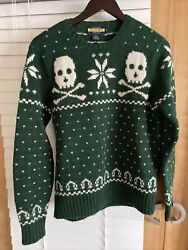 Rugby Rugby Green Sweater Small Skull Fair Isle Knit Snowflake