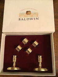 Baldwin Hostess Polished Brass Set Of 4 Napkin Ring And 2 Candle Holders Iob