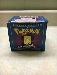 Vintage 1999 Burger King Pokemon 23k Gold Plated Trading Card Jigglypuff W/box