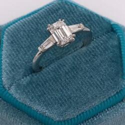 Genuine Diamond Engagement Special Ring F/si1 1.50 Ct Emerald 14k White Gold
