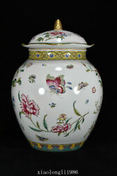 China Ancient Porcelain Qing Dynasty Pastel Butterfly Floral Pattern Cover Jar