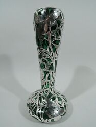 Antique Vase - 131 - Tall Art Nouveau - American Green Glass Silver Overlay