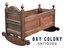 17th C Antique William And Mary Paneled Oak Carved Cradle Plymouth Colony 1686