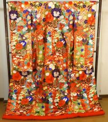 Bride Costume Color Uchikake Pure Silk Super Gorgeous Floral Pattern From Japan
