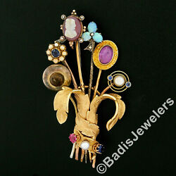 Antique Victorian Custom 6 Gold Silver Stick Pin Bundle Pearl And Gemstone Brooch