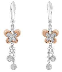 .32ct Diamond 18k Rose And White Gold Butterfly Flower Chandelier Hanging Earrings