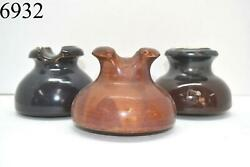 Lot Of 3 Insulators Porcelain Products Inc Unbranded Brown Vintage Collectible