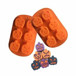 Halloween Molds Silicone Candy Chocolate Soap Mold Pumpkin Baking Mold 2 Pcs