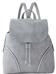 ULTA BEAUTY GRAY BACKPACK BAG PURSE FAUX LEATHER DRAWSTRING MAGNETIC SILVER NEW $17.99