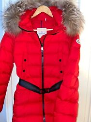 Authentic Moncler Red Clion Belted Puffer Jacket - Size 3 Large