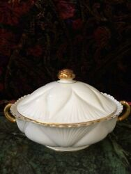 Shelley Regency Dainty Soup Tureen And Lid White W Gold Rim Casserole Dish Rare