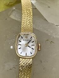 Rolex 14k Gold Ladies Manual Wind Watch Case And Band Solid Gold Ref 3582