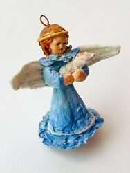 Vintage Hand Made Paper Mache Christmas Doll Toy Angel With A Baby