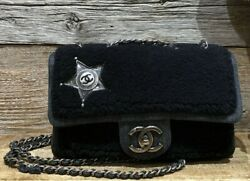 Auth Blue Sheep Flap Bag In Black With Sheriff Star Silver Hw Chain Bag