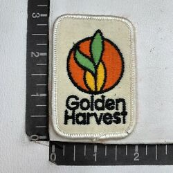 Vtg Embroidered Cloth Golden Harvest Seed Farmer Patch S04h