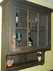 Primitive Rustic Country Wall Cupboard/cabinet, Glass Panels - Local Pickup Only