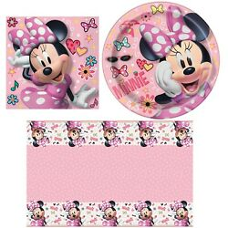 Iconic Minnie Mouse - Napkins, Plates, Tablecover, Happy Birthday Party Bundl...