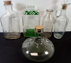 Variety 5 Large Vintage Glass Bottles And Decanters Lot 45
