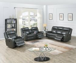 Grey Leatherette Cushion Couch Motion Sofa Loveseat Console Glider Recliner Sofa