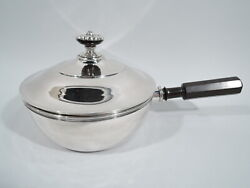 Antique Chafing Dish - Biedermeier Covered Serving Bowl - Swiss Silver - 19 C
