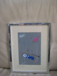 Monoprint Abstract Collage Signed Gregory Wiley Edwards Black Americana Framed