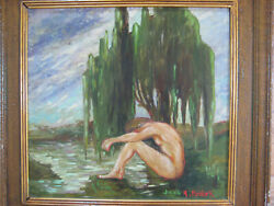 Vintage Czech Oil Painting Nude In Landscape Signed Mystery Framed Impressionist