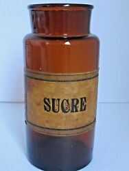 Antique French Sucre Paper Label Amber Glass Jar