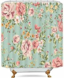 Blue Green Floral Shabby Chic Farmhouse Fabric Shower Curtain Waterproof Hooks