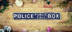 Hand Painted Wooden Street Sign- Vintage- Police Call Box-tardis