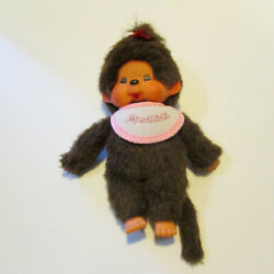 Vintage Monchhichi Baby Girl Doll With Pink Bib And Red Bow