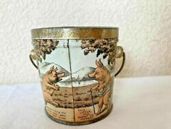 Antique Graphic Five Little Pigs Comic Tin Candy Pail With Handle Canco 2 7/8