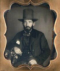 Rugged Man With Thick Black Beard Wearing Tall Hat 1/6 Plate Daguerreotype G522