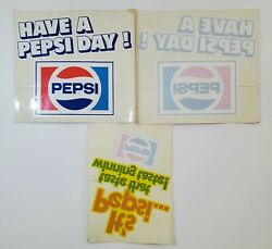 Three 1970s Have A Pepsi Day Window Store Decals. New Old Stock - Nice Variety