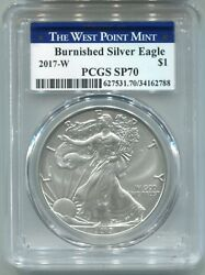 2017 W Burnished Silver Eagle Pcgs Sp70 West Point Label 2788