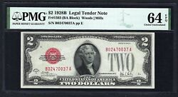 Key Note 1928b 2 Fr-1503 ♚♚red-seal♚♚ Pmg Ch Unc 64 Epq Rare Note