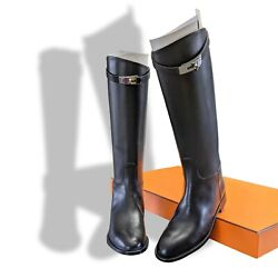 Hermes [sh13] Black Womenand039s Jumping Equistrian Style Boots Tige Large Sz 38.5g