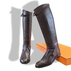 Hermes [sh14] Chocolat Womenand039s Jumping Equistrian Style Boots Style Boots Sz41