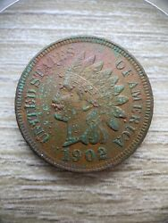 1902 Indian Head Bronze Cent Penny Liberty One Diamond Visible