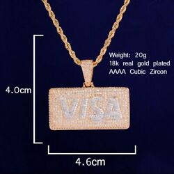 Bling Letter Card Two Tone White Gold Rapper Pendant With 4mm Tennis Chain Cubic