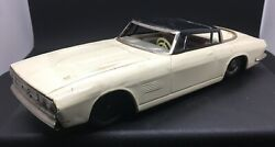 Antique Japanese Tin 1/18 Scale White Ford Mustang Concept Car Pull Back Drive