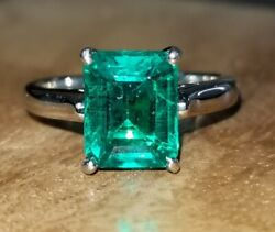 Vintage Platinum Engagement Ring 2.20ct. Green Emerald In Emerald Cut